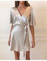 White Black Spot Printed V Neck Short Sleeve Women Summer Satin Soft Wrap Mini Dress White Belt