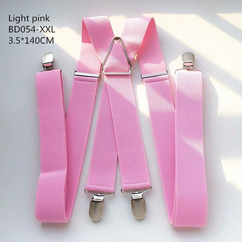Одноцветные подтяжки унисекс для взрослых, мужские XXL, большие размеры, 3,5 см, ширина, регулируемые эластичные, 4 зажима X сзади, женские брюки, подтяжки, BD054 - Цвет: Light pink-140cm