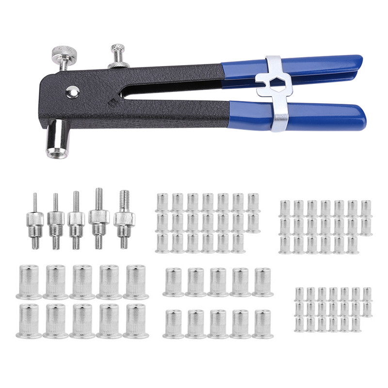 Blind Rivet Gun 86pcs/Set Heavy Duty Nut Threaded Insert Hand Riveting Kit M3-M8 Rivet Nuts Nail Gun Household Repair Tools