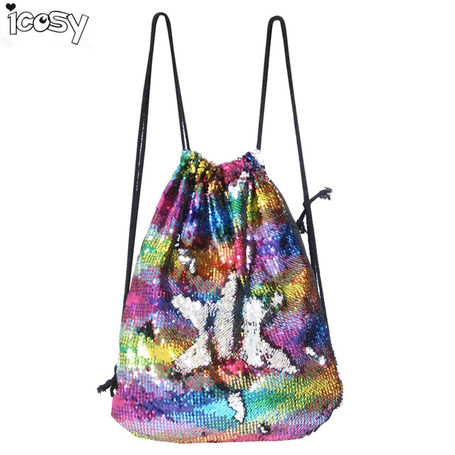 Icosy Women Girls Rainbow Color Mermaid Drawstring Bags Magic Reversible  Sequins School Bag Travel Backpack Packet