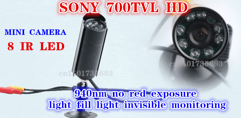 Mini CCTV Camera in Security Camera Outdoor Invisible 8 PCS 940NM Not visible LEDS Sony 700tvl mini Bullet PEN Camera bullet camera tube camera headset holder with varied size in diameter