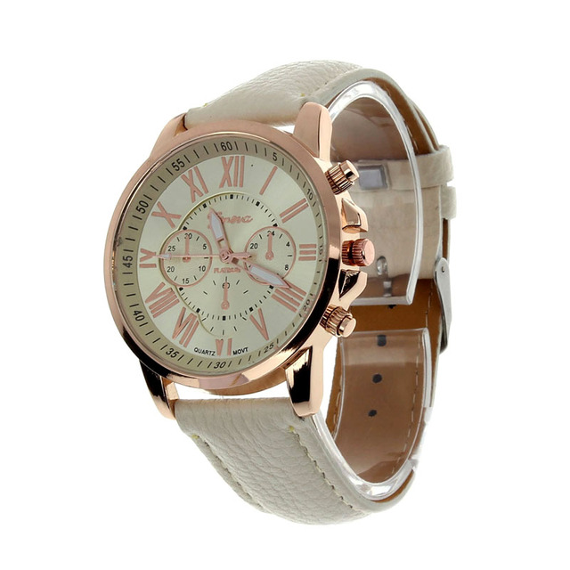 2017 Fashion Brand Geneva Watch Women Men Casual Roman Numerals Faux Leather Quartz Wrist Watches relogio Clock relojes mujer