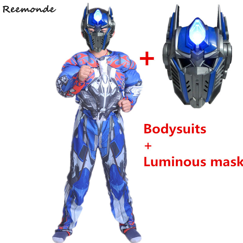 Movie Superhero Optimus Prime Bumblebee Muscle Cosplay Costume Children Mask Bodysuits Full Set Kids Carnival Halloween Clothes