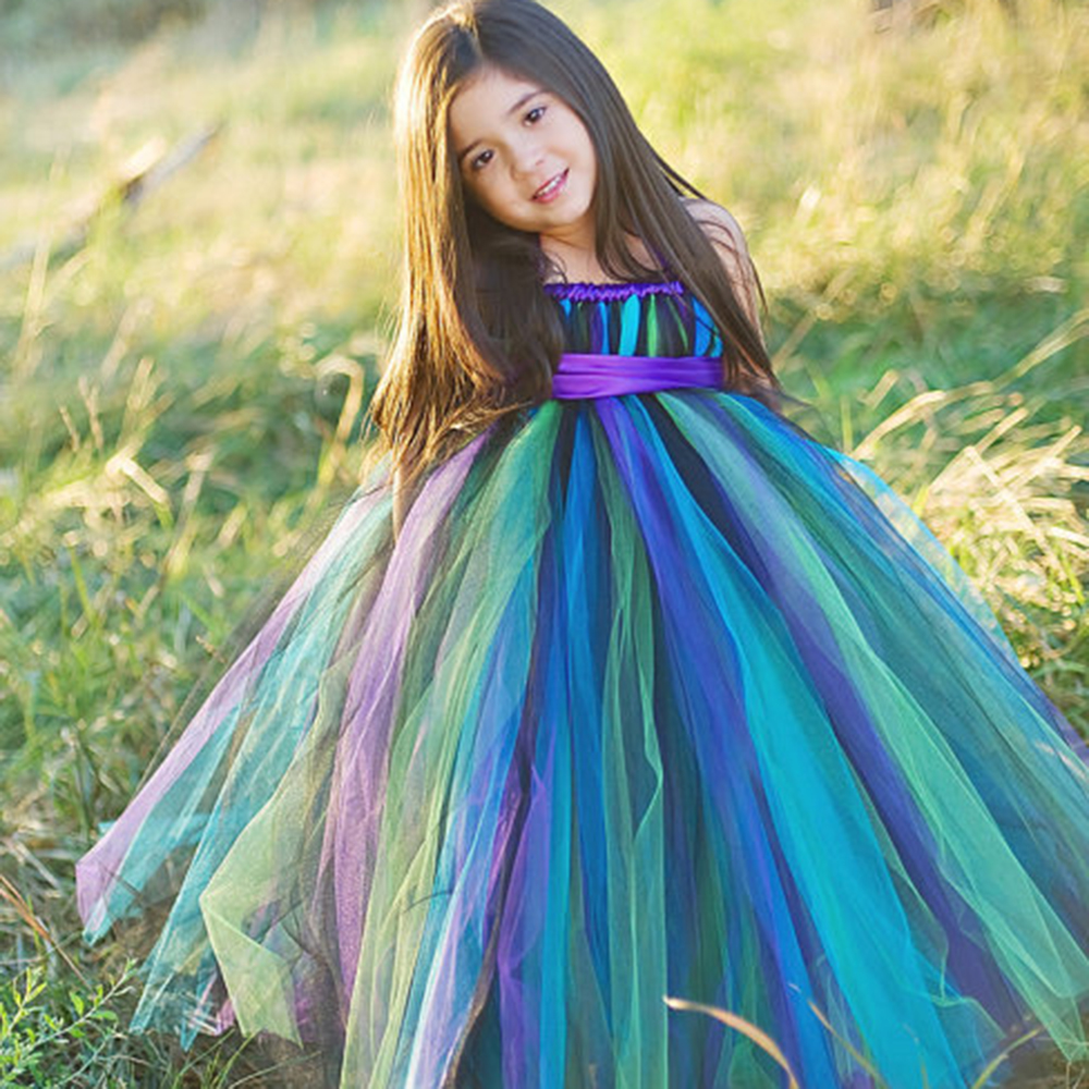 ФОТО New Hot Designer Handmade Pageant Flower Dresses Girls Peacock Tutu Dresses Party Birthday Festival robe fille enfant