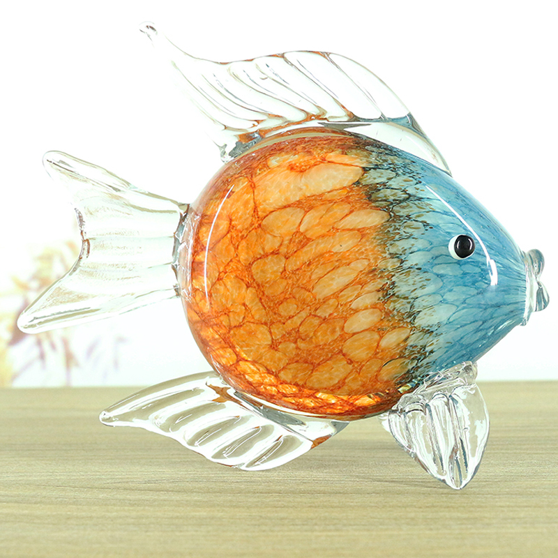 Glass glaze fish crafts ornaments Crystal Glass Figure Paperweight Ornament wedding Decor Crystal Figurines Home Decor