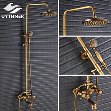 Uythner Wall Mounted Antique Brass 8 Inch Round Rainfall Shower Head + Wide Tub Spout + Brass Hand Sprayer Mixer Tap