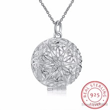 LEKANI 925 Sterling Silver Necklaces Round Charm Pierced Floating Locket Pendant Necklace For Women Fine Jewelry Collares Mujer(China)