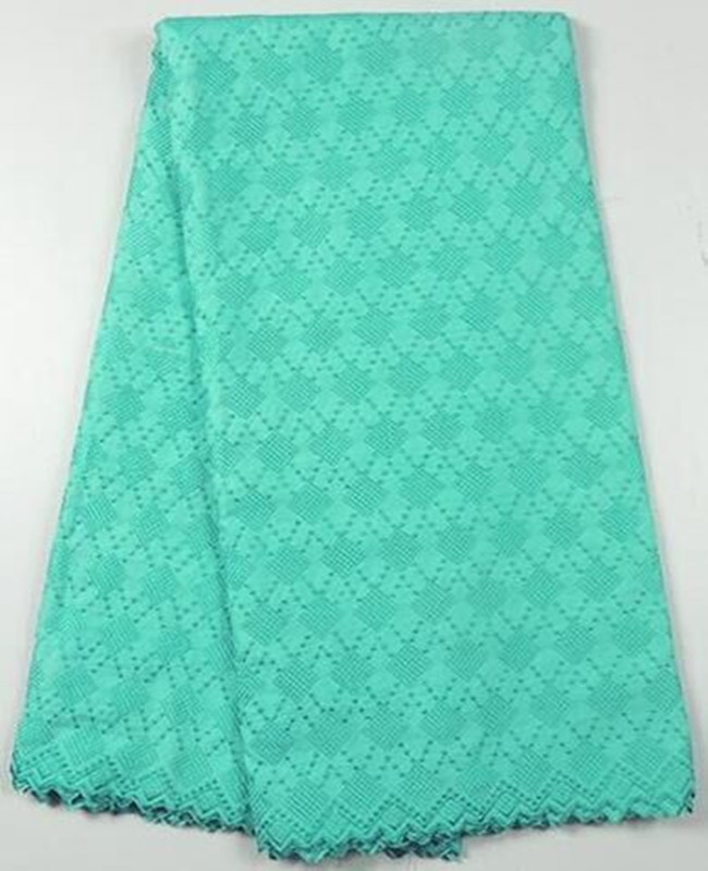 Excellent teal green embroidery African cotton lace fabric Swiss voile lace cloth for wedding dress TC58-1,5yards/pc