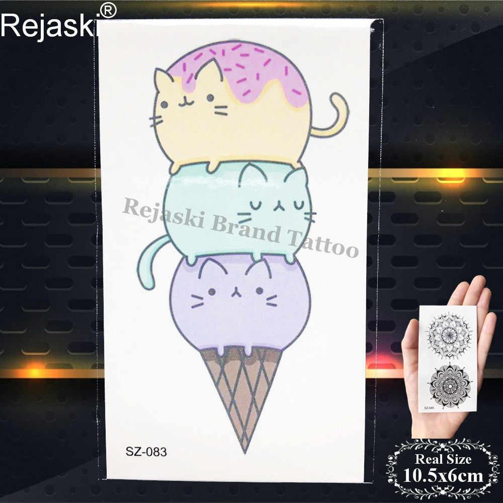 Rejaski Flash tatuaje niños brazo pegatinas de manecillas tatuaje temporal para niños peces del océano para mujeres lindo helado falso tatuaje de dibujos animados