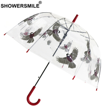 SHOWERSMILE Clear Umbrella Rain Women Long Handle Transparent Automatic Ladies Hanging Bird Hand Painted Umbrellas