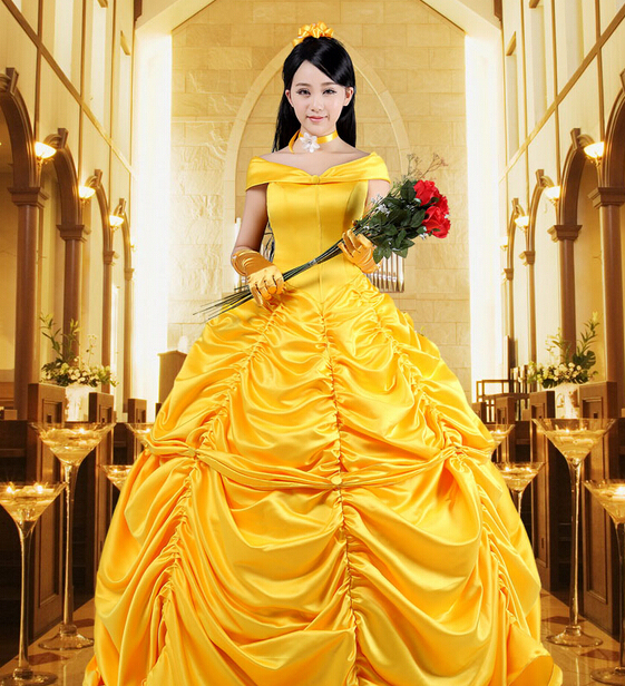 Free shipping Adult Deluxe Princess Belle Dress Belle Cosplay ...