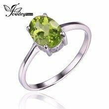 Jewelrypalace 1.4ct naturales peridoto genuino 925 plata esterlina solitario anillos de amor para la mujer classic regalo oval de la joyería fina