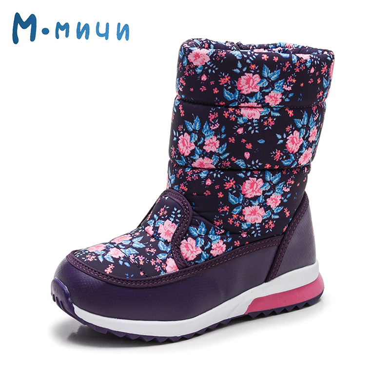 цена на MMNUN Warm Flower Winter Boots Girls Soft Waterproof Floral Winter Children Shoes High Quality Brand Shoes for Girls Size 26-31