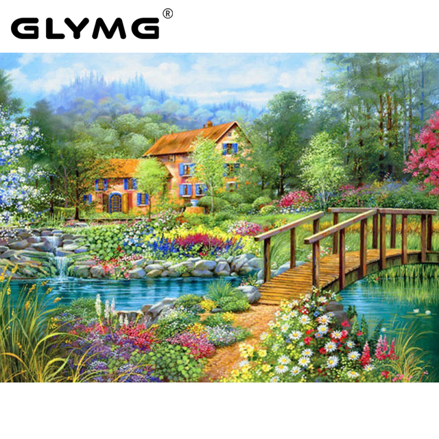 Superieur GLymg Diamond Painting Natural Scenery Garden Bridge Cross Stitch Kits  Rhinestone Square Drill Diamonds Embroidery Home