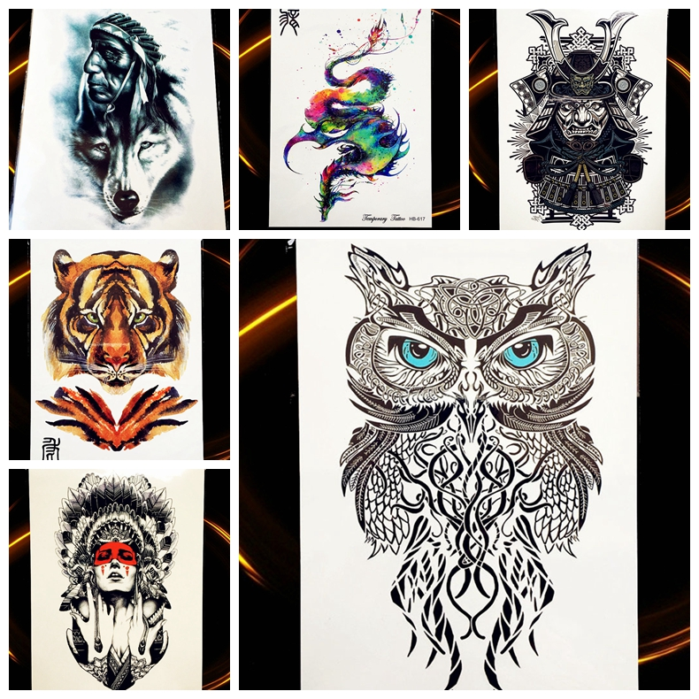ᗛ25 Styles Hot Flash Temporaire Tatouage Indien Guerrier Hibou