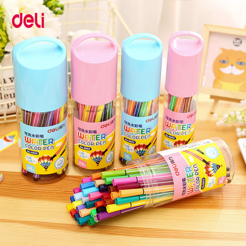 Deli Stationery Washable Watercolor Pen 12/18/24/36 /  Colors  Colored Pen For Kids  Drawing Painting Watercolor Art Marker Pens