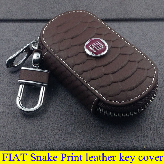 FIAT parts high quality leather key cover for Fiat Ottimo Bravo Viaggio Fiat 500 SUV Freemont Snake Print style key rings