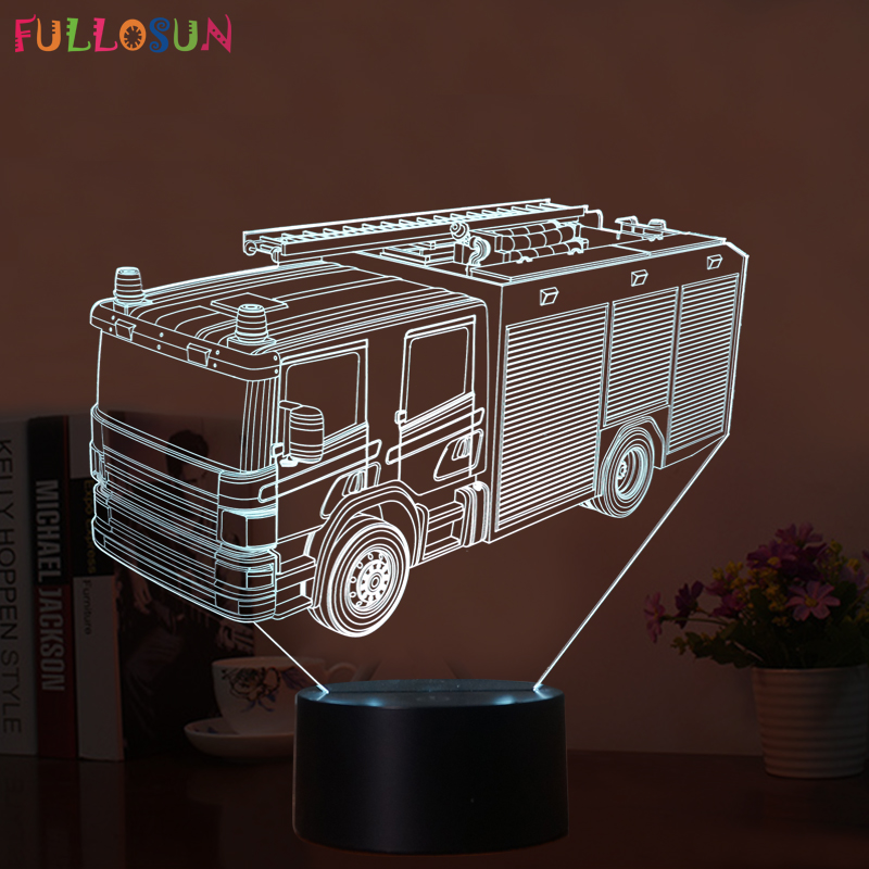 Gift Fire Truck 3d Night Lamp 7 Colors Led Usb 3d Night