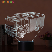 Gift Fire Truck 3D Night Lamp 7 Colors LED USB 3D Night Lights as Children's Room Toys Decoration Lights