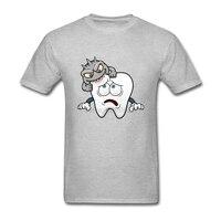 남성 티셔츠 인기있는 짧은 소매 O 목 Tshirt 남성 재미 겁나 치아 디자인