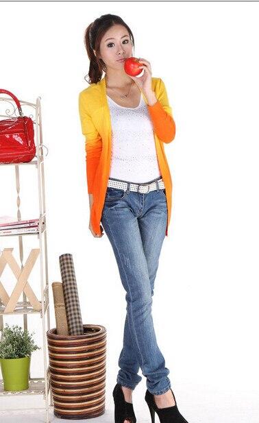 50 шт./лот Federal Express быстро Градиент Карамельный цвет свитер; кардиган; пальто с отложным воротником полной Длинные рукава трикотажные женские сумки, пальто