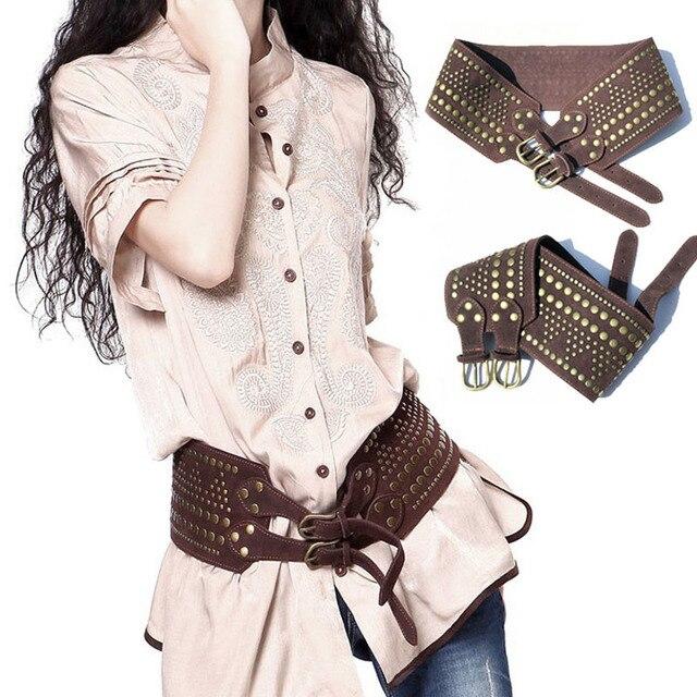 2017 Spring New Vintage Women Belt Double Buckles Genuine Leather Rivet Cowskin Belts Cinturones Apparel Accessories