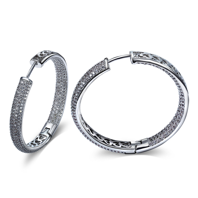 DC1989 Women Classic Hoop Earrings Rhodium or Gold Plated or Rose Gold Plated Synthetic Cubic Zircon Paved Inner Diameter 3.6 cm