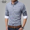 Новый 2017 Весна Повседневная Мужчины Рубашка Хлопок Белье Мужские Рубашки Slim Fit Клетчатые Рубашки Плюс Размер Длинным рукавом Camisas masculina СА1