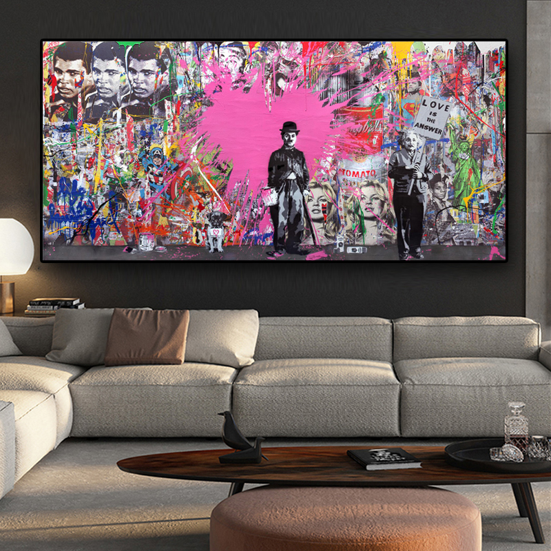 Abstract Charlie Chaplin Canvas Painting Posters And Prints Graffiti Street Pop Art Wall Picture For Living Room Cuadros Decor