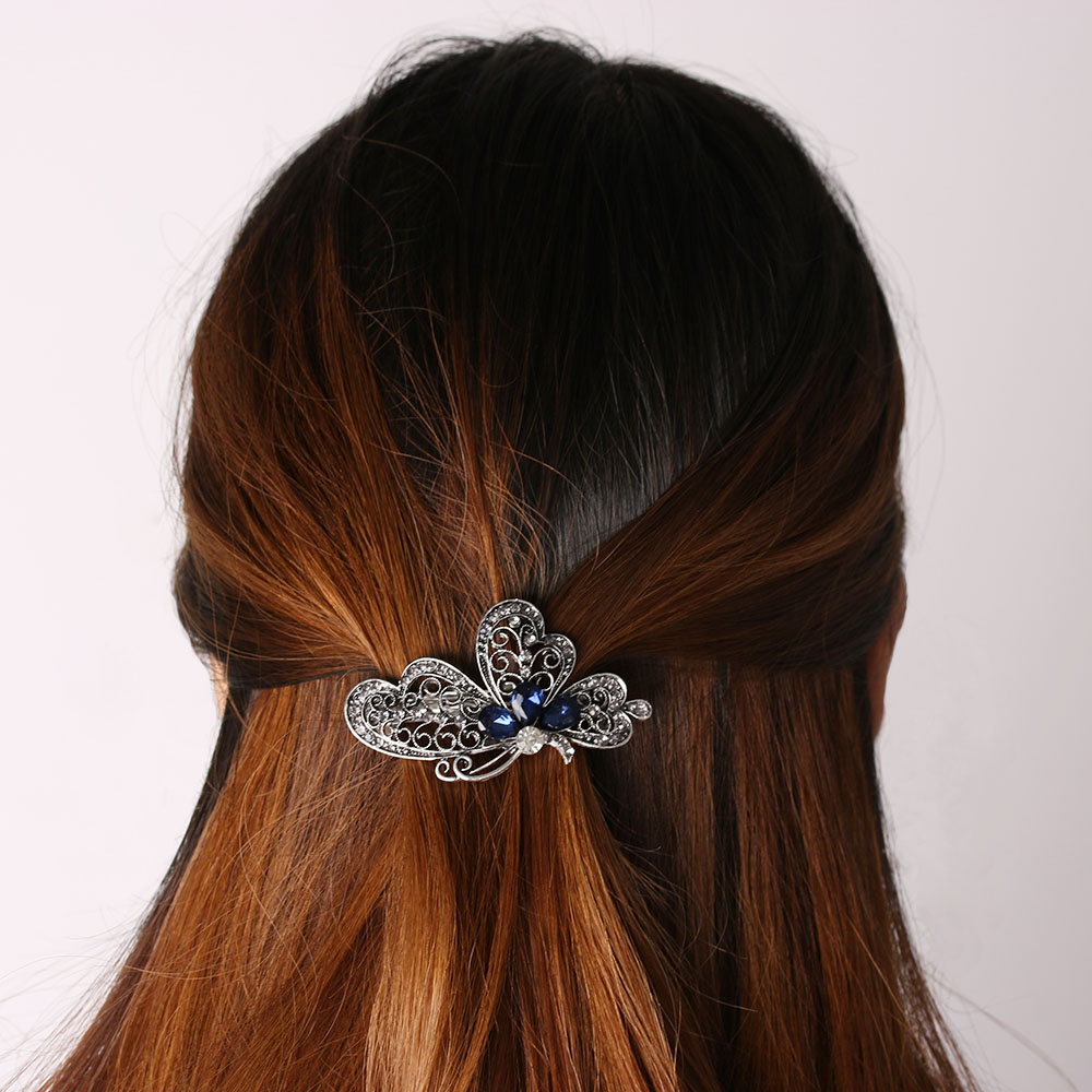 Fashion Women Luxury Crystal Blue Butterfly Hair Clip Hairpin For Women Girls Gift 2017 NEW Spring Listing fashion women girls 12pcs black plastic mini hairpin 10 claws hair clip clamp
