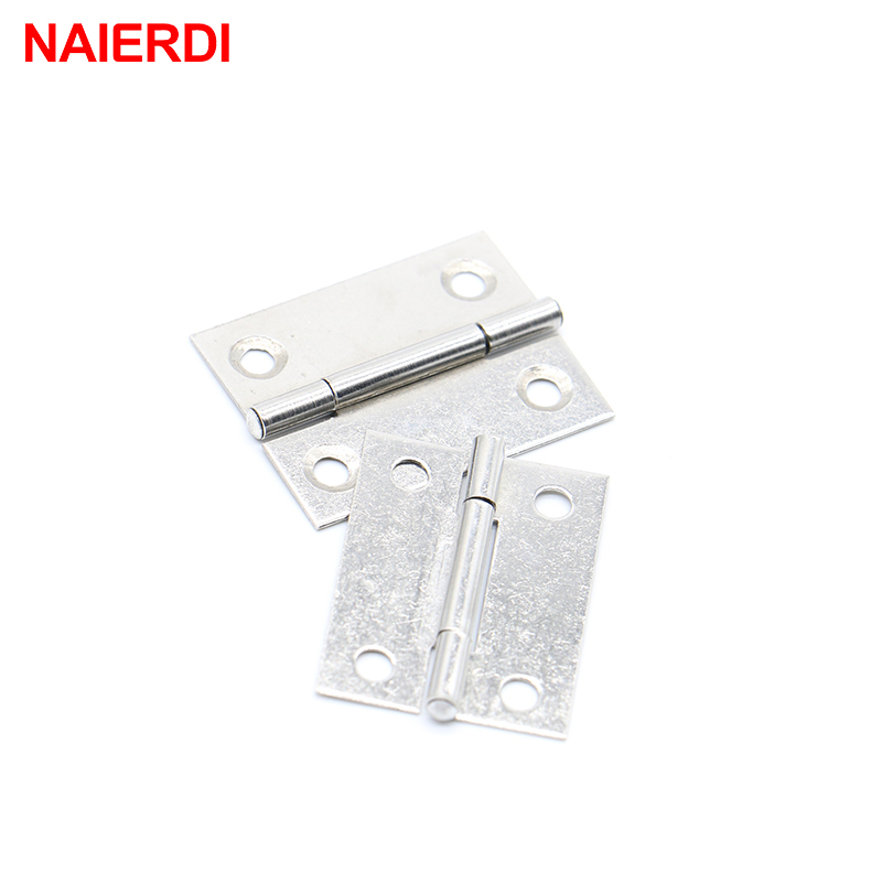 NAIERDI 20pcs Cabinet Hinges 1.5Inch Stainless Steel Mini Drawer Jewelry Box Hinge Silver Door Hinge For Decoration Hardware