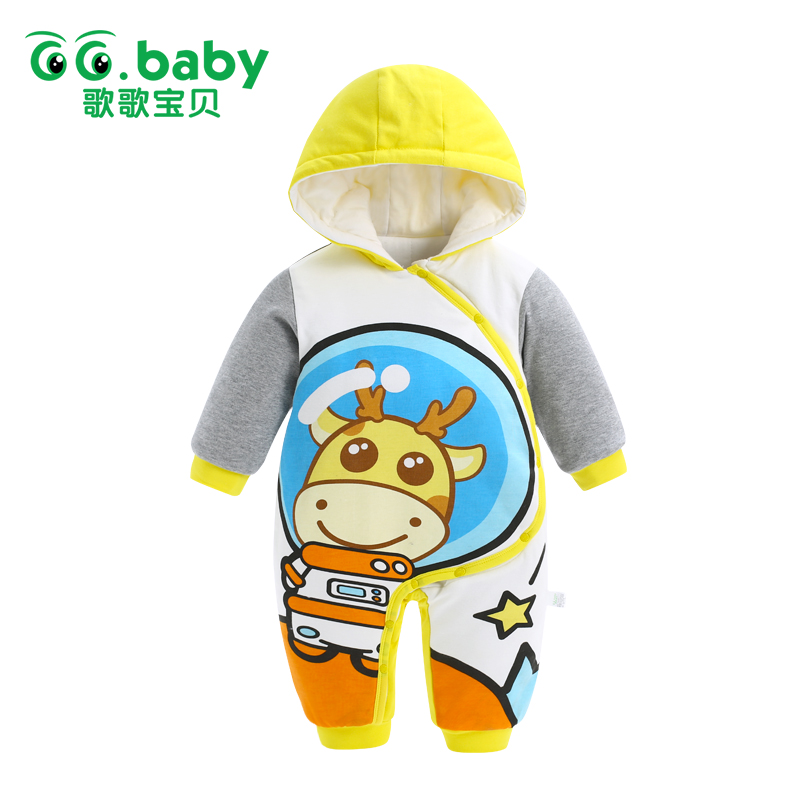 2017 Outwear Newborn Hooded Winter Baby Rompers Baby Boy Romper Long Sleeve Cotton Baby Clothes Jumpsuit Warm Baby Boy Jumpsuits newborn baby boy winter rompers long sleeve cotton clothing toddler baby clothes romper warm cartoon jumpsuit baby boys pajamas