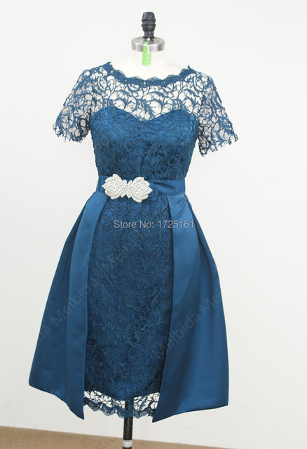 Short Sleeve Lace Knee Length Wedding Party Dresses with Sashes ...
