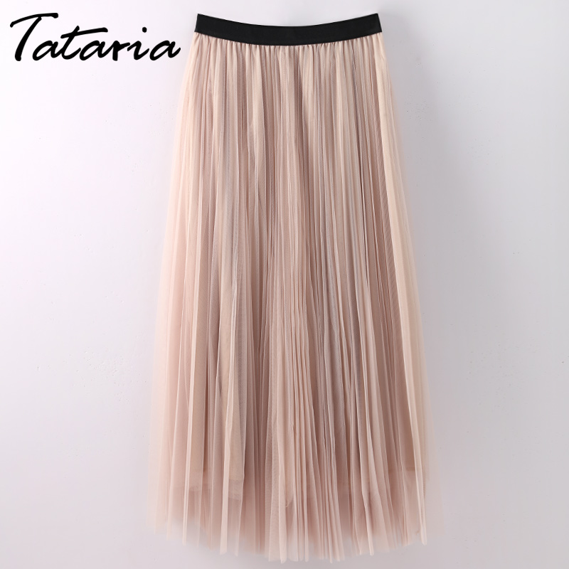Long Skirts For Women 2018 Slim Summer Pleated Skirts Womens Pink Sexy Woman Skirt Female Faldas Largas Elegantes Jupe Femme