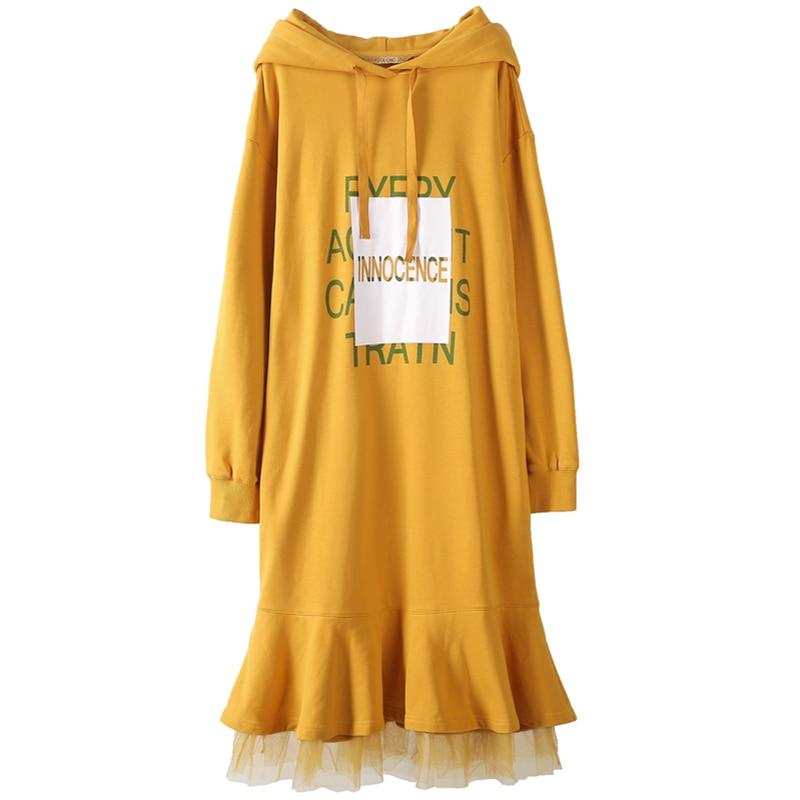 2018 Robes Bureau Couture Fishtail Longues Printemps Robe Turmeric Automne Manches Printe Sweat Lal74 Capuche Powder Dentelle Old sakura À Coton Lâche OPknX08w