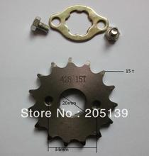 цена на NEW 15 t tooth 20MM FRONT ENGINES sprocket FOR 428 CHAIN motorcycle MOTO PIT dirt ATV parts bike