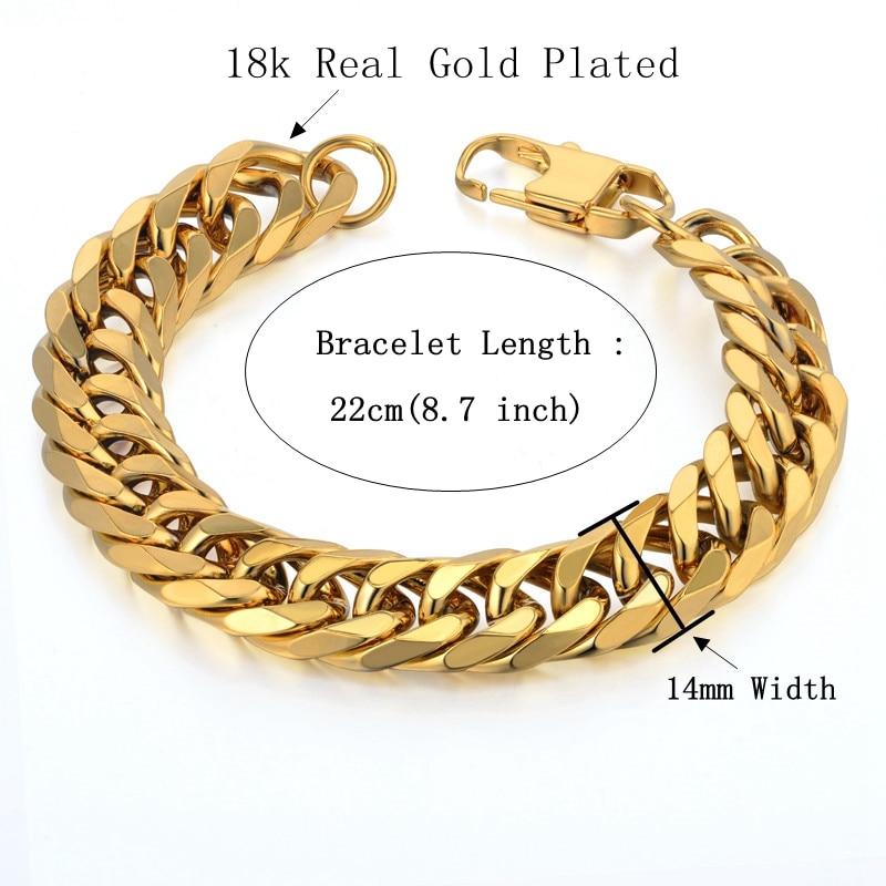 Cuban Link Armband Für Männer Schmuck Punk Gold Farbe Schwere Big - Modeschmuck - Foto 2
