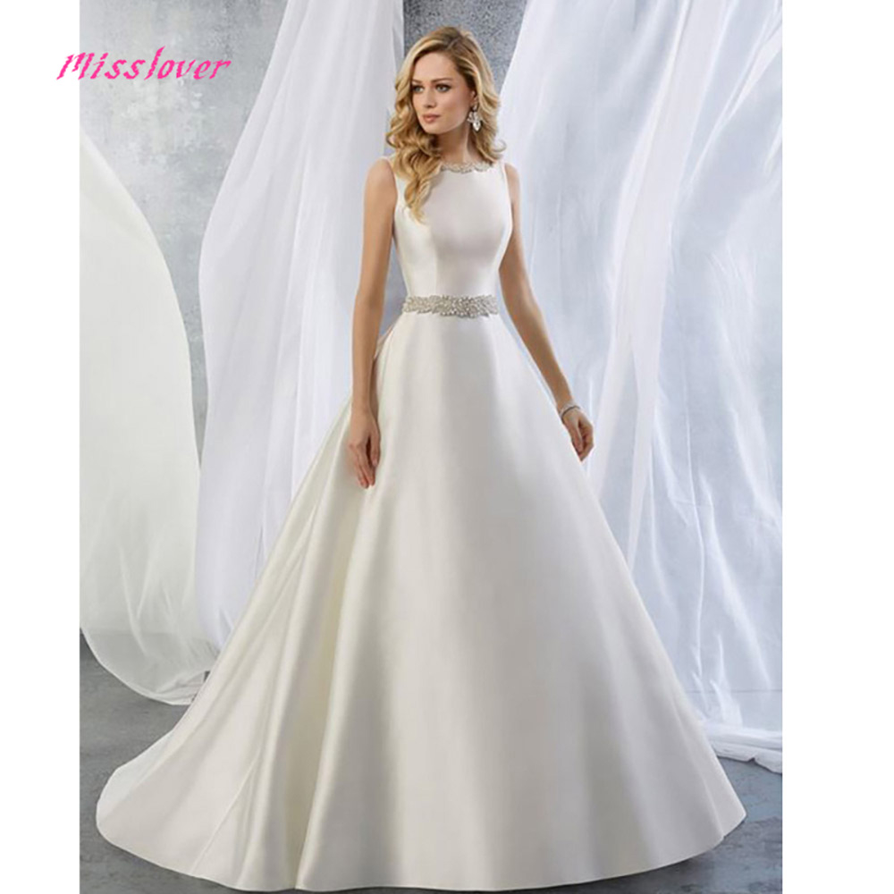 simple 2019 new arrival Luxury Crystal Pearls Sashes Wedding Dress Sexy backless Bridal Gown with Court