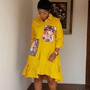 Spring Autumn Fashion Yellow Print Pleated Dress Casual Cute Women Beading Shirt Dresses Long Sleeve Plus Size Vestidos(China)