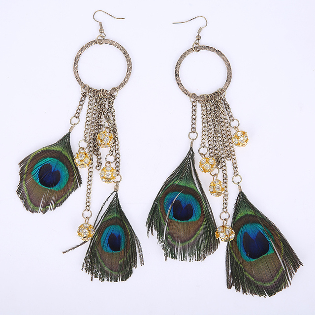 Peacock Feather Crystal Retro Fashion Earring