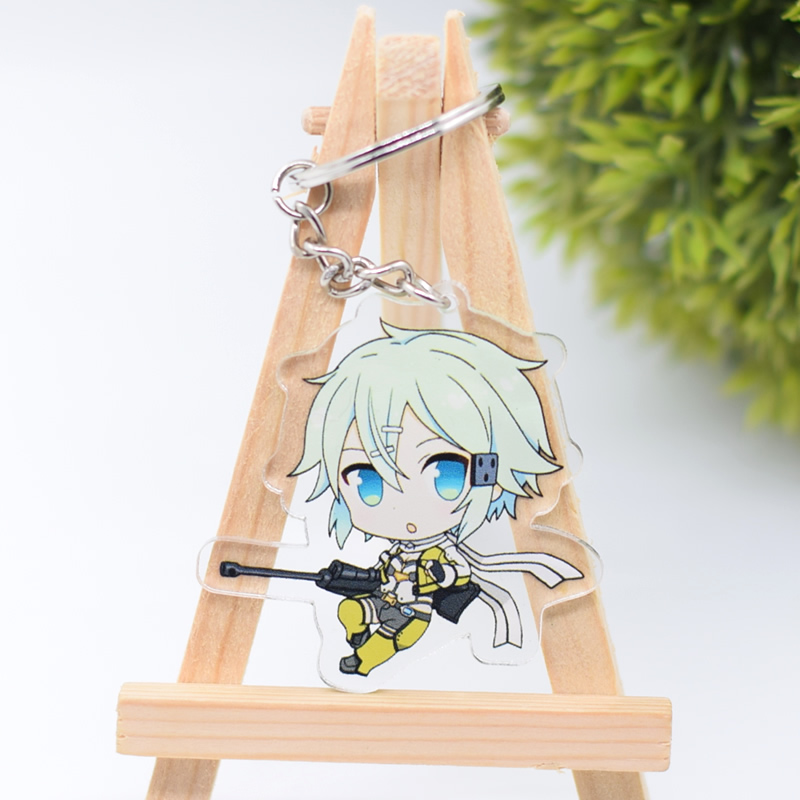 Sword Art Online Keychain Cute Double Sided Sinon Kirito Key Chain Pendant Acrylic Anime Accessories Cartoon Key Ring DBS1P