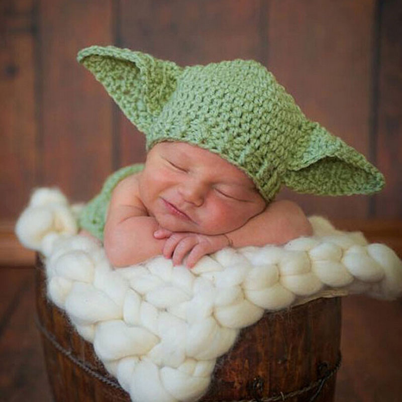 Star Wars Yoda Kostym Outfit Crochet Baby Nyfödda Yoda Photography Props Cartoon Infant Hat med Blåskydd H264