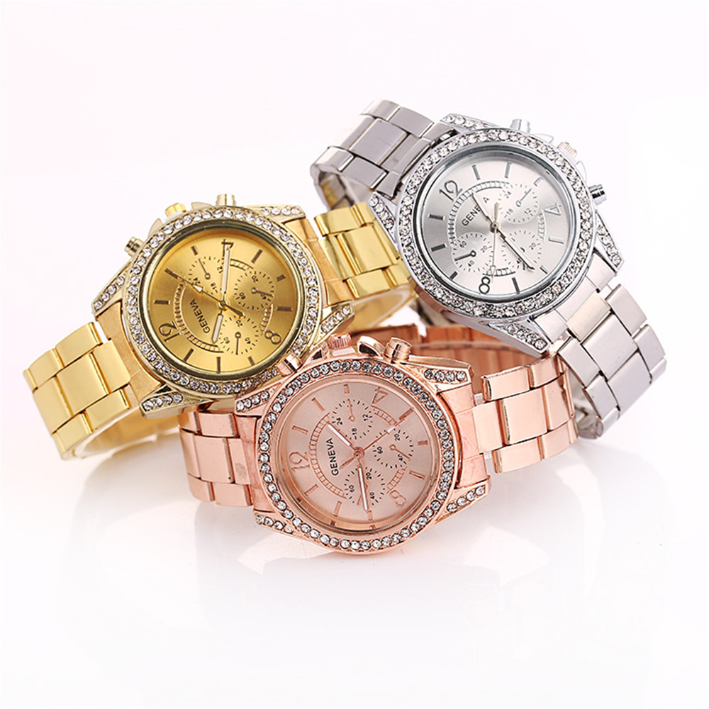 Luxury Brand Women Quartz Watches Gold/Silver/Rose Gold Stainless Steel Diamond Watch Ladies Wristwatch Casual Women Dress Colck