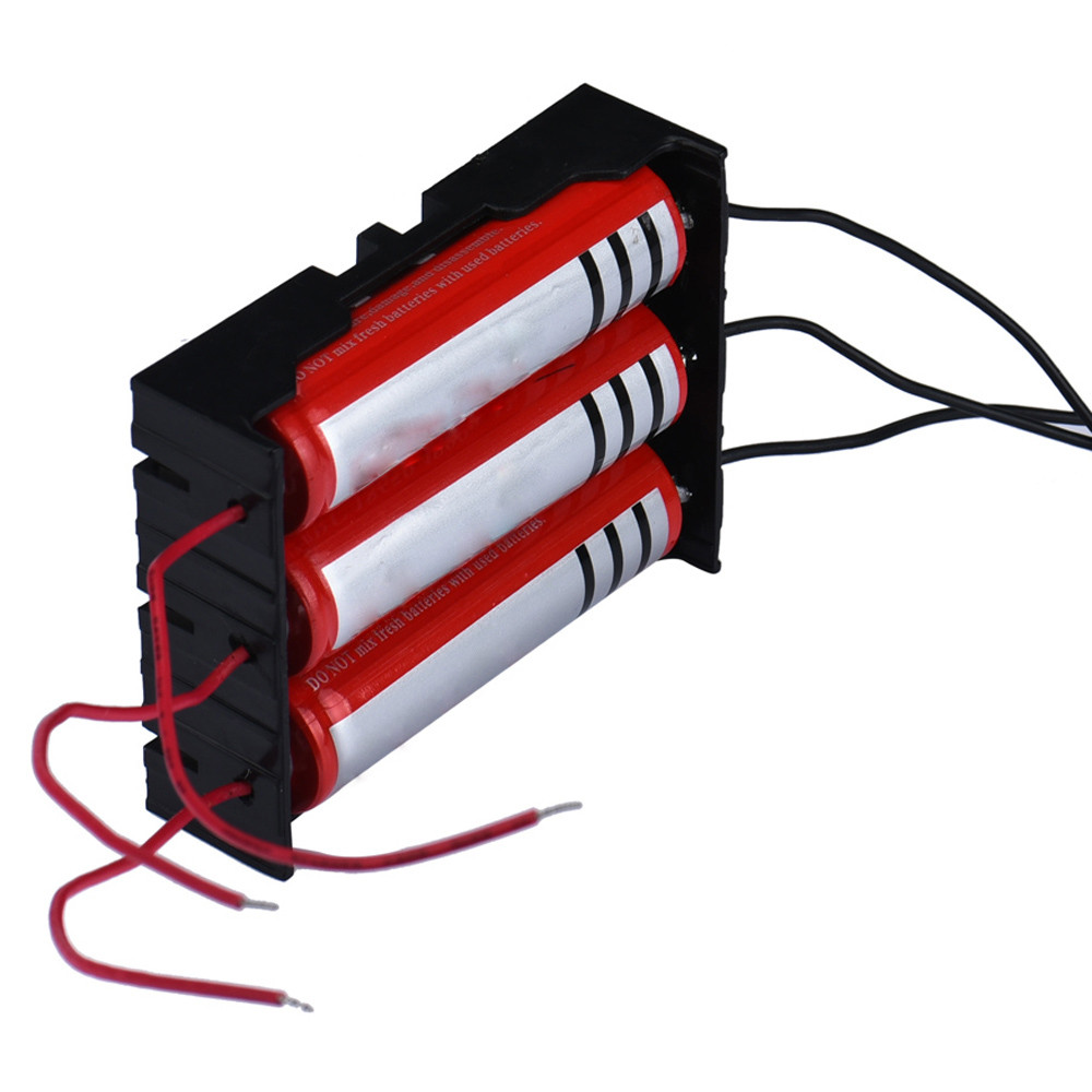 1pc High Quality Clip Design Battery Charger Black Box Holder For 3 x 18650 With Wire Leads Plastic Battery Storage Case #S