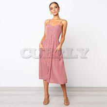 CUERLY 2019 Boho Sexy V Neck Backless Pockets Floral Print Summer Beach Dress Women Button Party Midi Dresses Female Vestidos