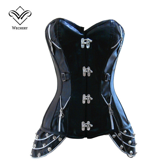 Wechery Rivet Steampunk Corset Black Faux Leather Corset Gothic Sexy Corsets and Bustier Buckle Slimming Shaperwear
