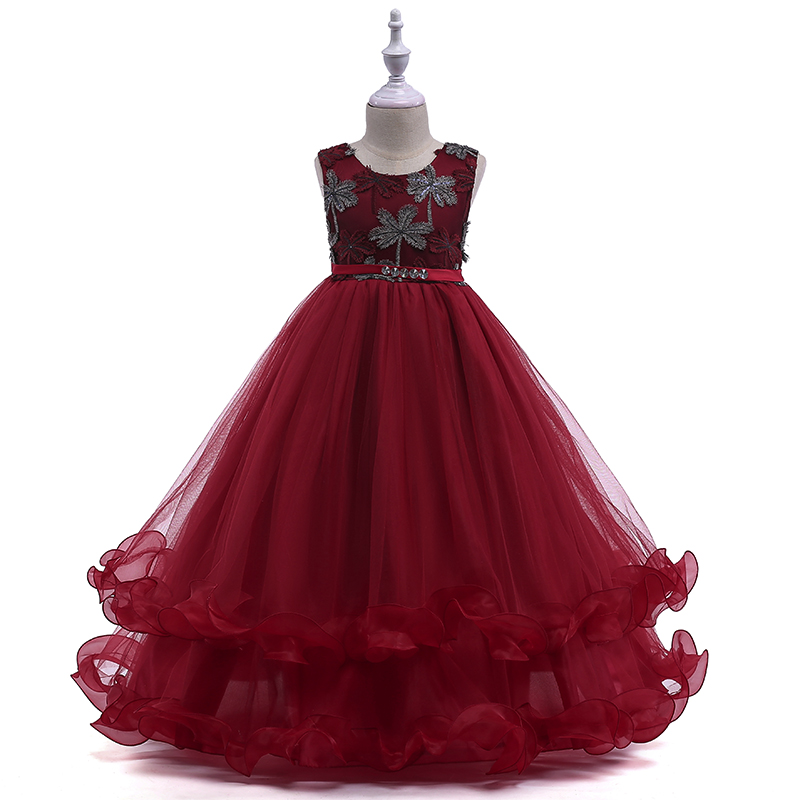 Retail Boutiques Embroidery   Flower     Girls     Dresses   With Rhinestone Belt Ruffled Elegant Children Evening Prom Long   Dress   LP-76