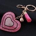 Новинка Горный Хрусталь сердце Кисточкой Брелки Брелок Мода Сердце Металл Кристалл Розовый Брелки Кошелек Кулон, Подарок для Женщины