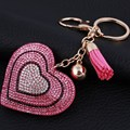 Novelty Rhinestone heart Tassel Keychains Keyring Fashion Heart Metal Crystal Pink Key Chains Purse Pendant Gift for Women