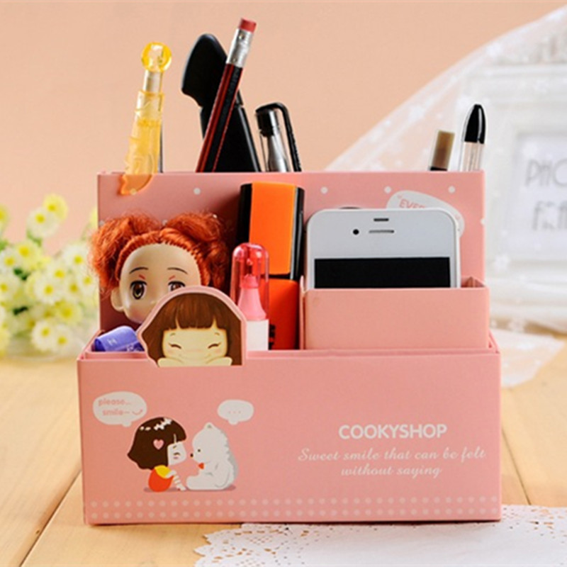 Kawaii diy paper storage box girl desk makeup organizer for Paper containers diy